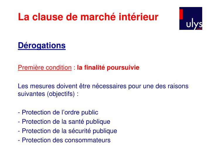 La clause de marché intérieur