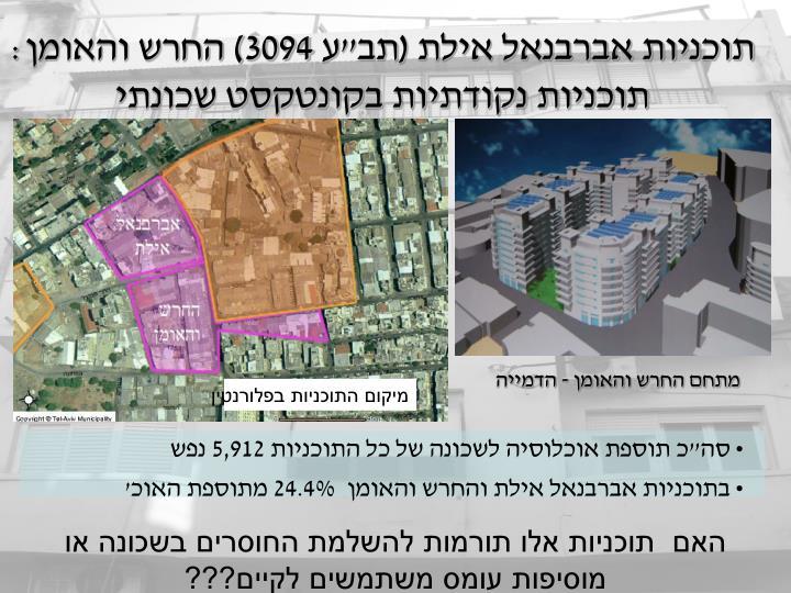 """סה""""כ תוספת אוכלוסיה לשכונה של כל התוכניות 5,912 נפש"""