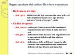 organizzazione del codice file e loro contenuto
