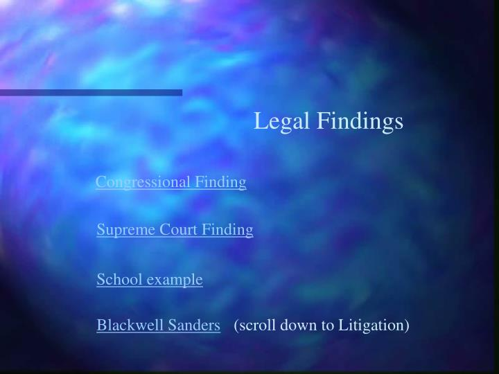Legal Findings
