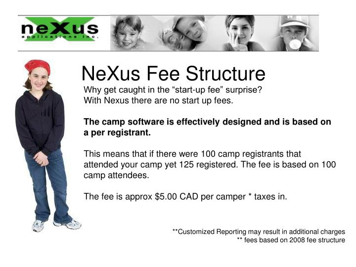 NeXus Fee Structure