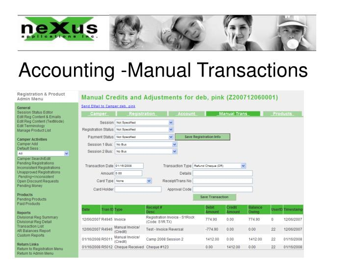 Accounting -Manual Transactions