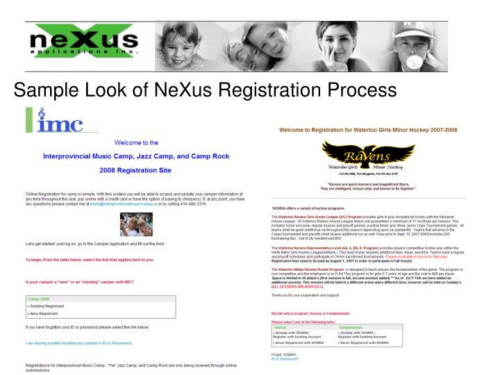 Sample Look of NeXus Registration Process