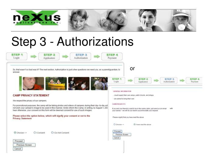 Step 3 - Authorizations