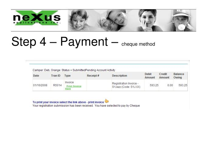 Step 4 – Payment –