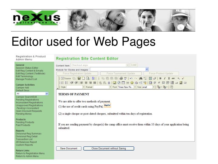 Editor used for Web Pages