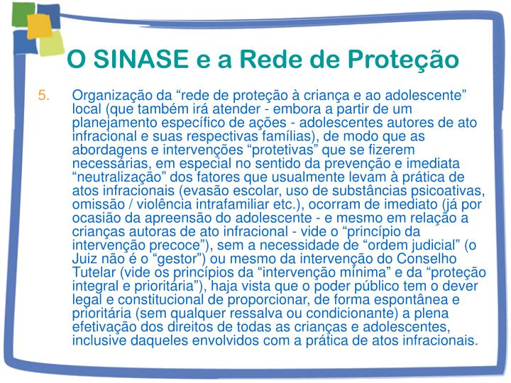 O SINASE e a Rede de Proteção