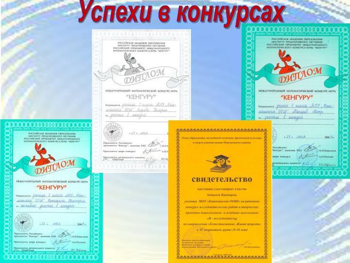 Успехи в конкурсах