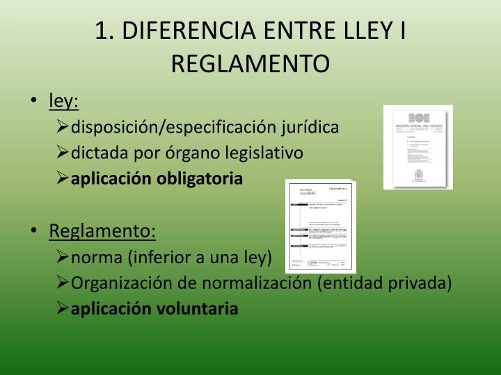 1. DIFERENCIA ENTRE LLEY I REGLAMENTO