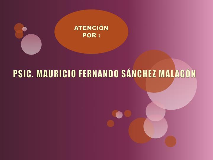 PSIC. MAURICIO FERNANDO SÁNCHEZ MALAGÓN
