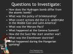 questions to investigate
