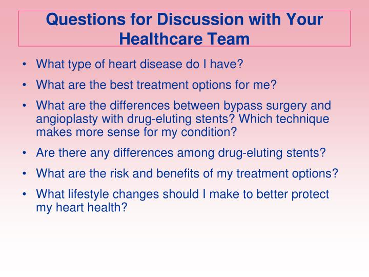 Questions for Discussion with Your Healthcare Team