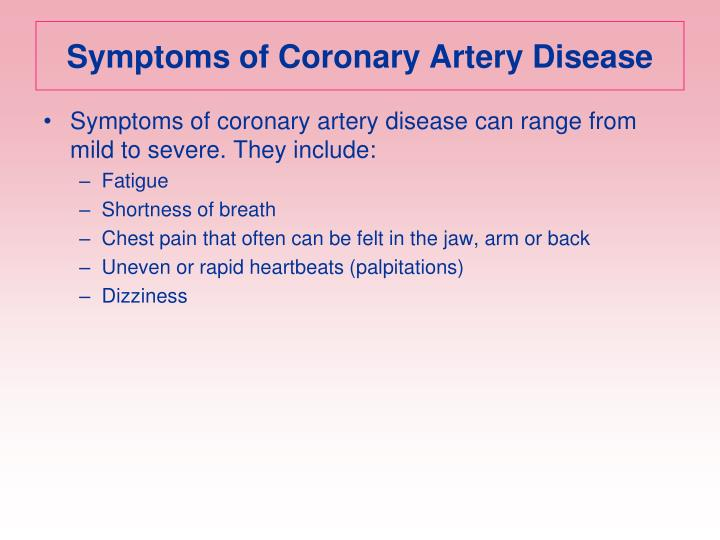 Symptoms of Coronary Artery Disease