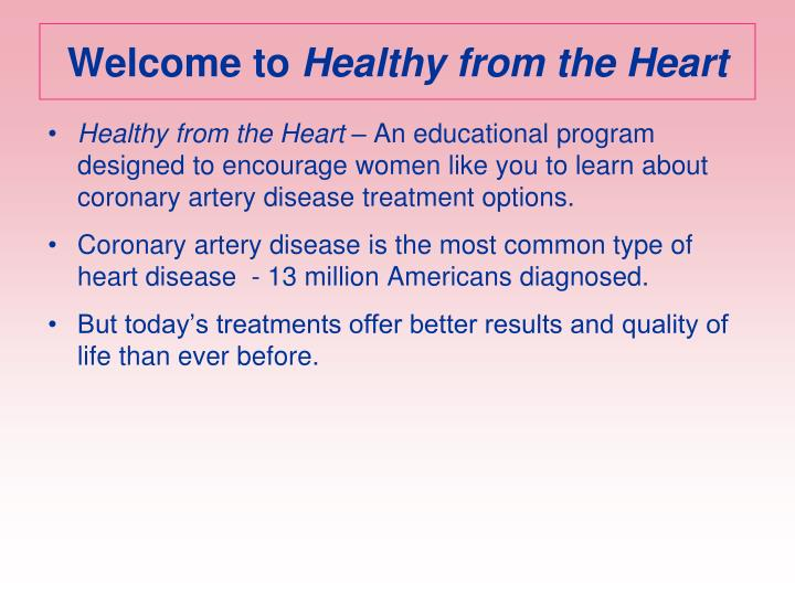 Welcome to healthy from the heart