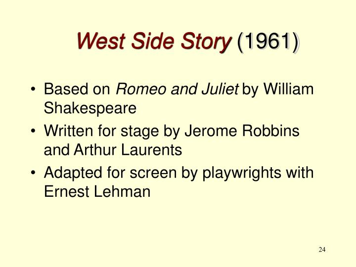 west side story summary Westside story is the award winning adaptation of the classic romantic tragedy, romeo and juliette the feuding families become two warring new york city gangs- the white jets led by riff and the .