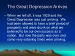 the great depression arrives