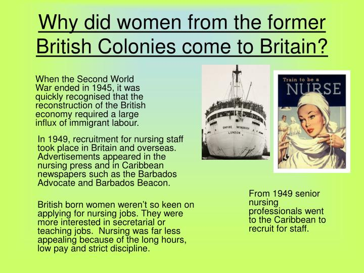 Why did women from the former british colonies come to britain