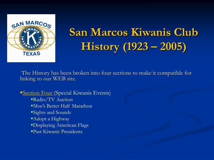 San Marcos Kiwanis Club History (1923 – 2005)