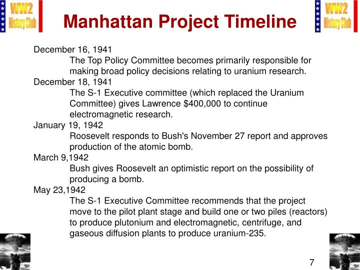 Manhattan project timeline