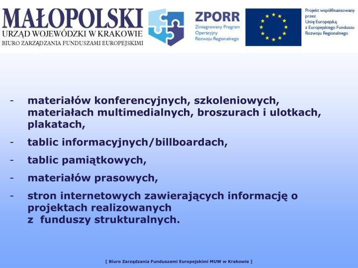 materiałów konferencyjnych, szkoleniowych, materiałach multimedialnych, broszurach i ulotkach, plakatach,