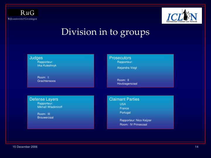 Division in to groups