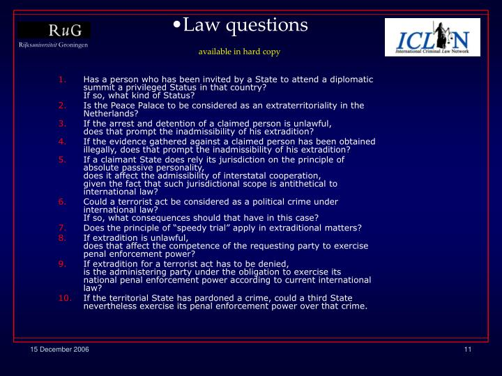 Law questions