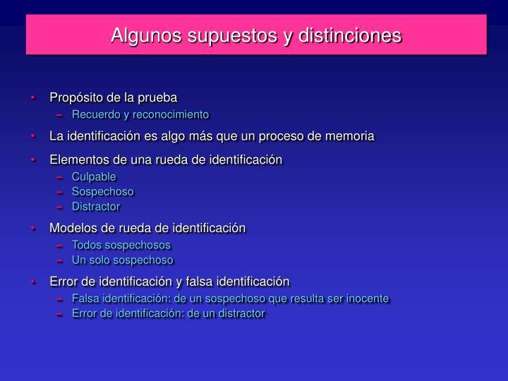 Algunos supuestos y distinciones