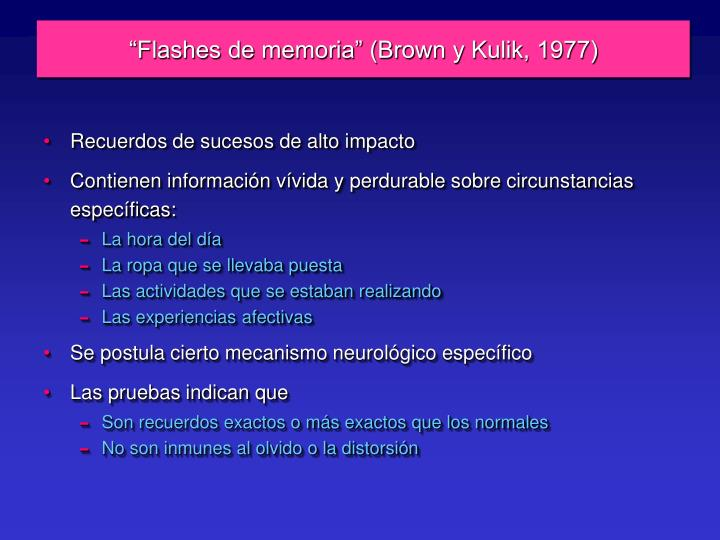 """Flashes de memoria"" (Brown y Kulik, 1977)"
