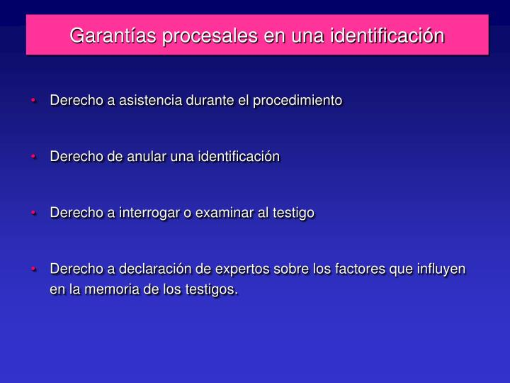 Garantías procesales en una identificación