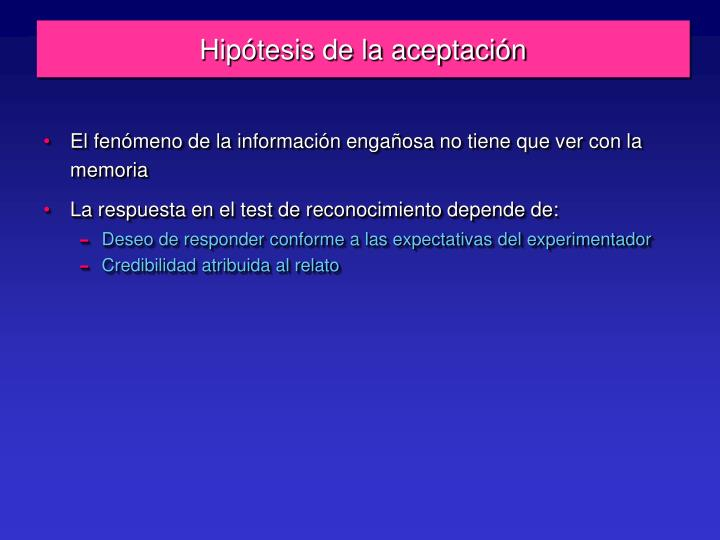 Hipótesis de la aceptación