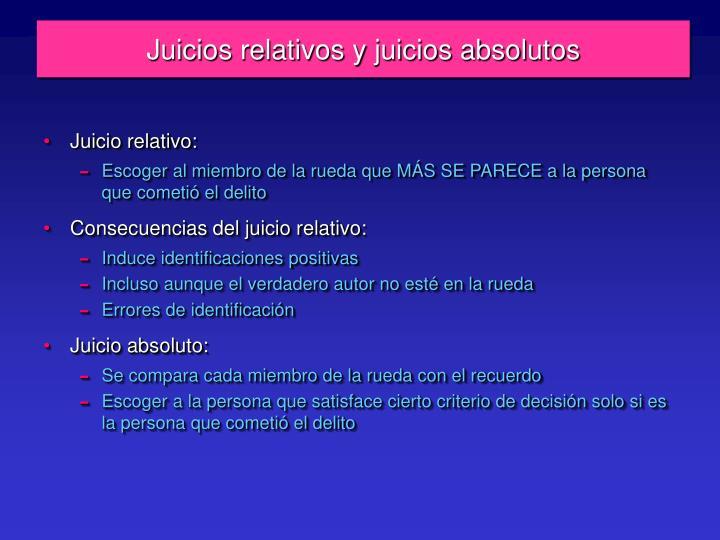 Juicios relativos y juicios absolutos