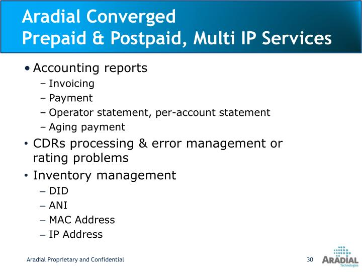Aradial Converged