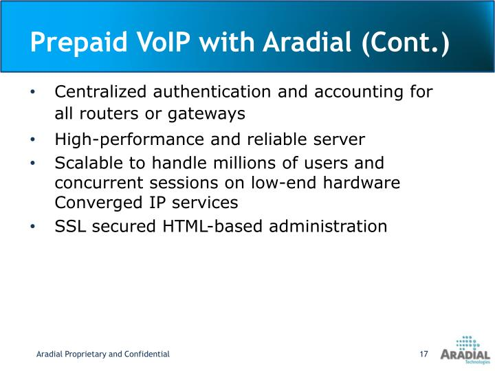 Prepaid VoIP with Aradial (Cont.)