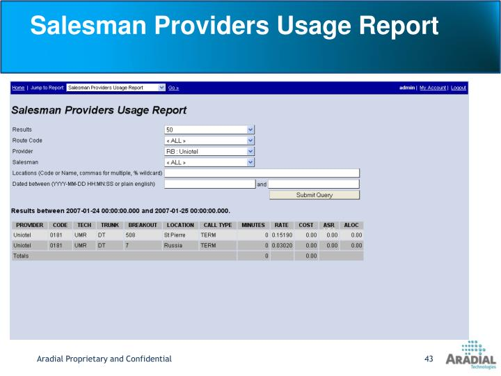 Salesman Providers Usage Report