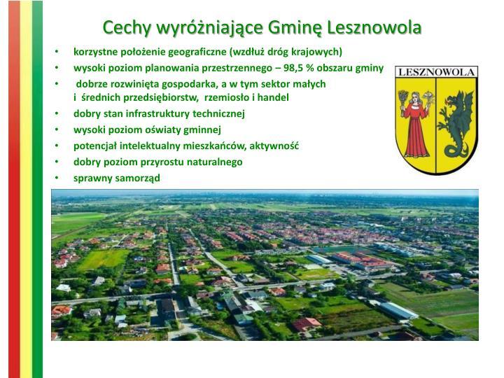Cechy wyróżniające Gminę Lesznowola