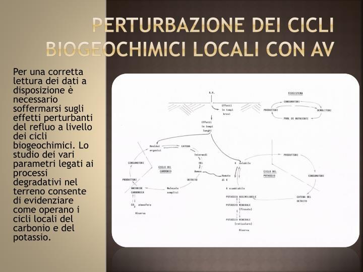 PERTURBAZIONE DEI CICLI BIOGEOCHIMICI LOCALI CON AV