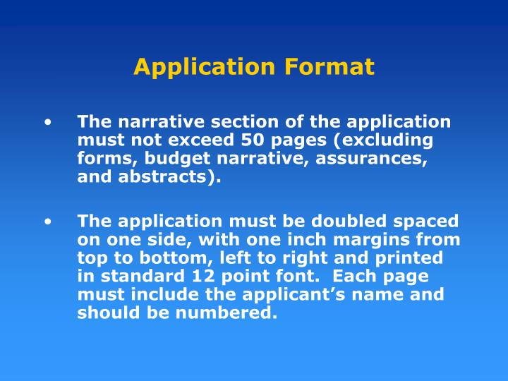 Application Format