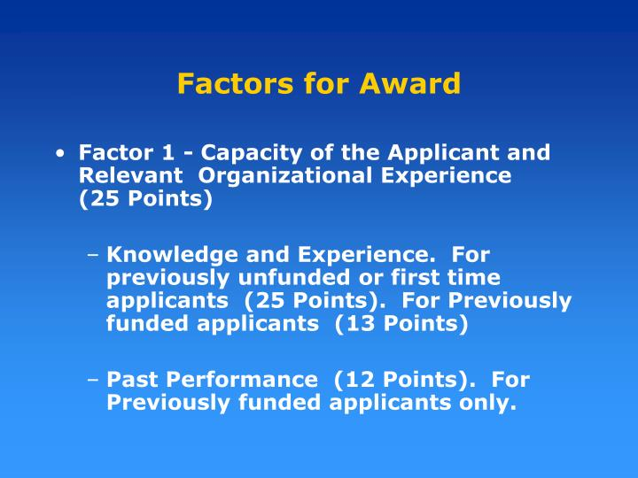 Factors for Award