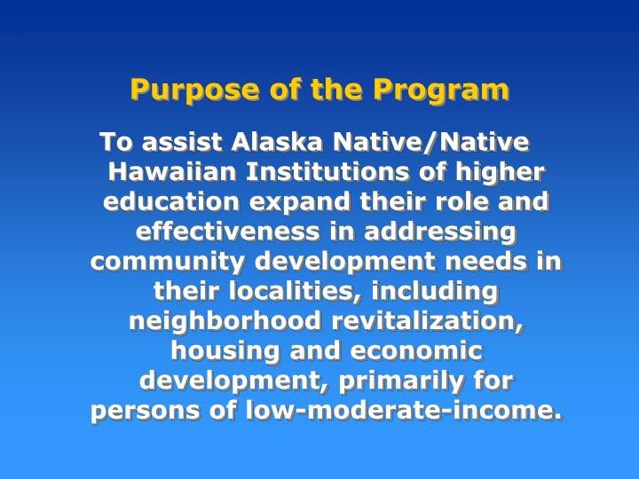 Purpose of the Program
