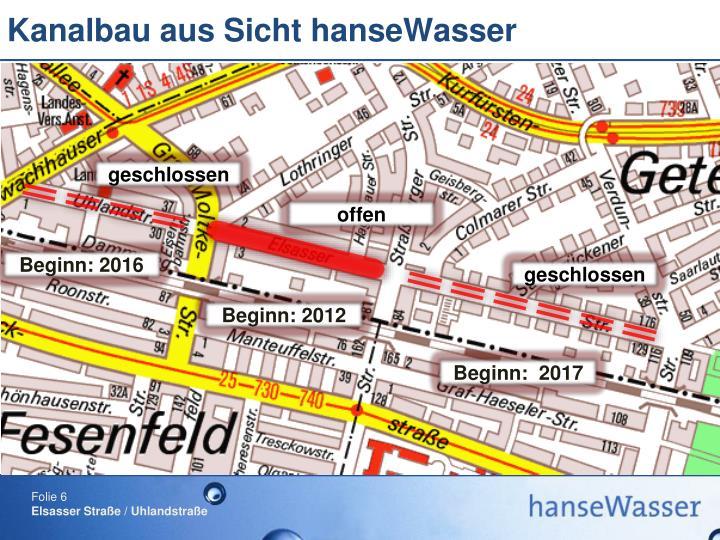 Kanalbau aus Sicht hanseWasser