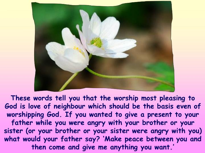 These words tell you that the worship most pleasing to God is love of neighbour which should be the basis even of worshipping God. If you wanted to give a present to your father while you were angry with your brother or your sister (or your brother or your sister were angry with you) what would your father say? 'Make peace between you and then come and give me anything you want.'