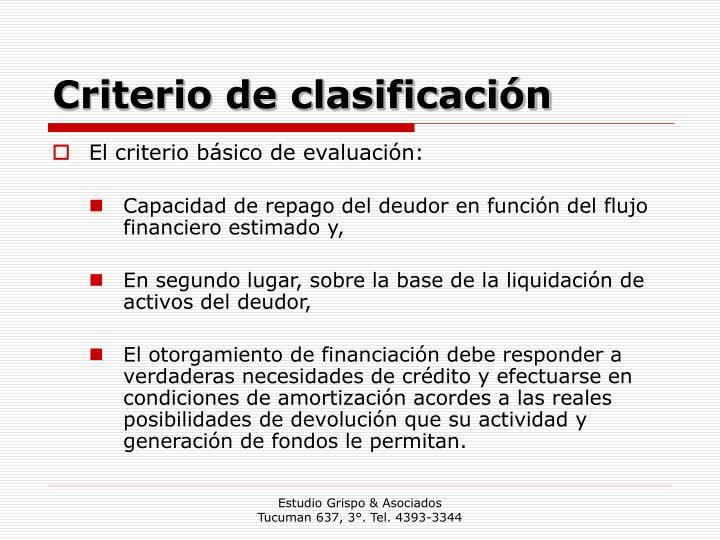 Criterio de clasificación
