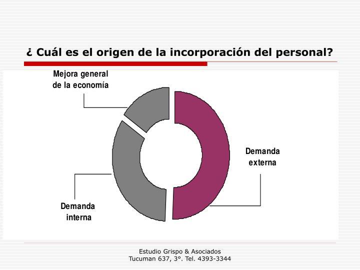 ¿ Cuál es el origen de la incorporación del personal?
