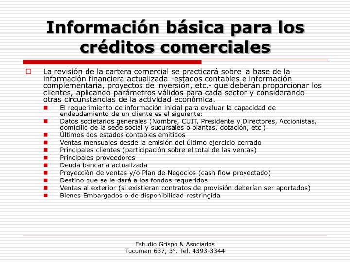Información básica para los créditos comerciales