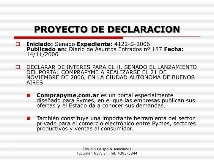 PROYECTO DE DECLARACION