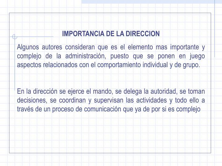 IMPORTANCIA DE LA DIRECCION