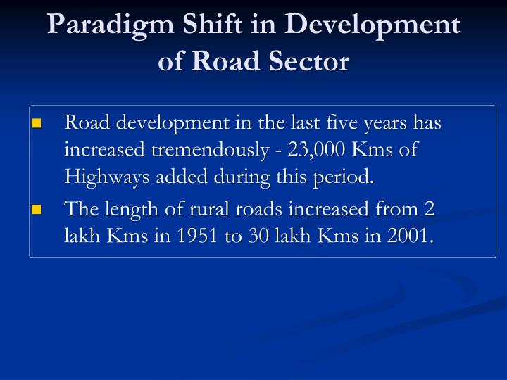 Paradigm Shift in Development of Road Sector