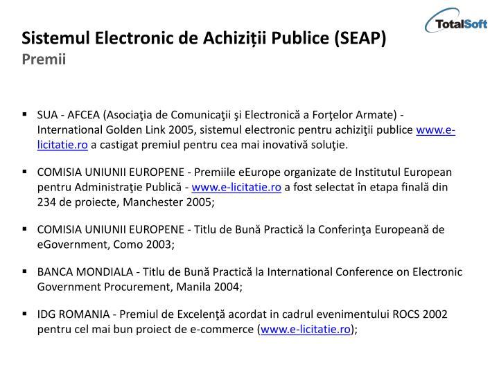Sistemul Electronic de Achiziții Publice (SEAP)