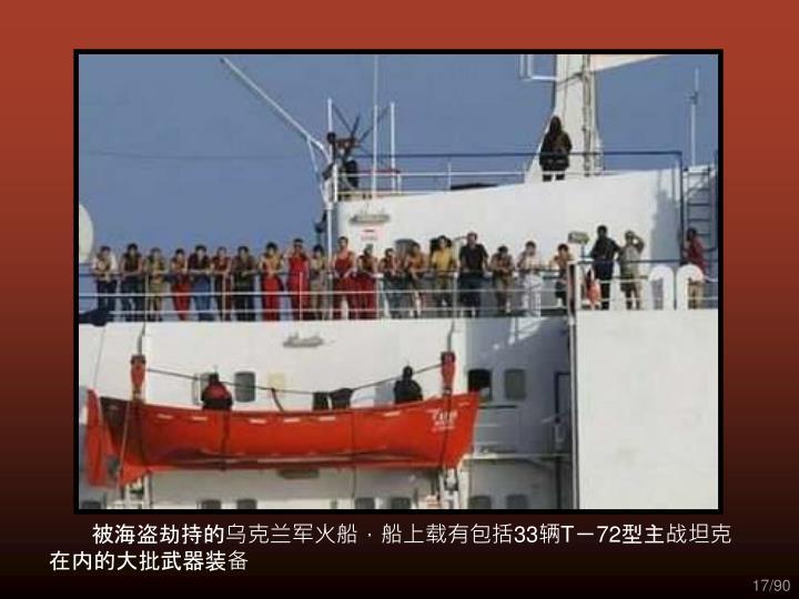 被海盗劫持的乌克兰军火船,船上载有包括