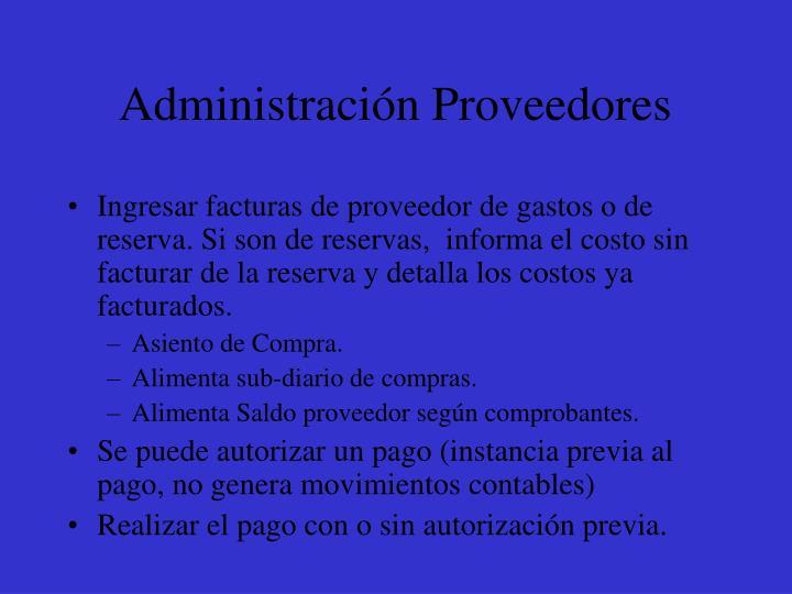 Administración Proveedores